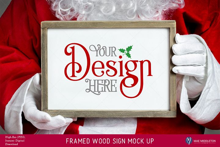Christmas Framed Wood Sign Mock up