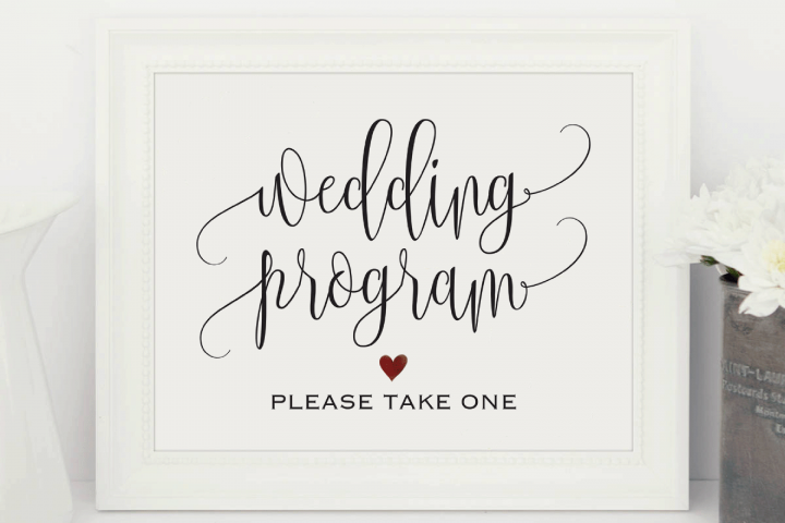 Wedding Program Sign, Ceremony Program Sign, Please take one