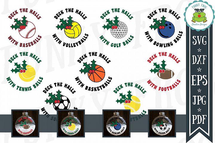 Deck the Halls Ornament Design Bundle SVG, DXF, EPS, JPG