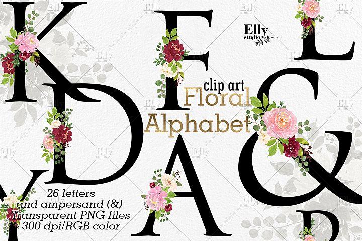 Black Floral Alphabet Clip Art