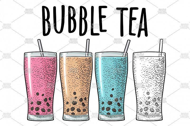 Bubble milk tea with tapioca pearl ball in glass engraving