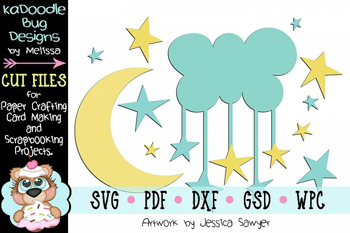 Moon and Stars Cut File - SVG PDF DXF GSD WPC
