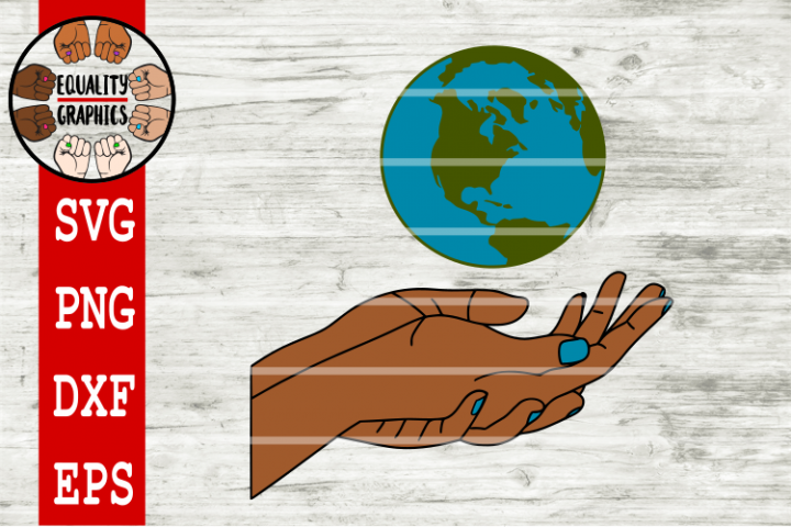 Earth Floating above Hand SVG | DXF | EPS
