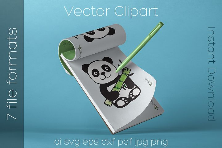 Panda SVG Watercolor Clipart Bear Drawing Vector Cut File