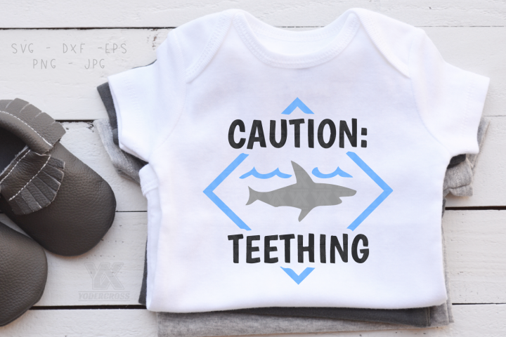 Caution Teething Shark SVG