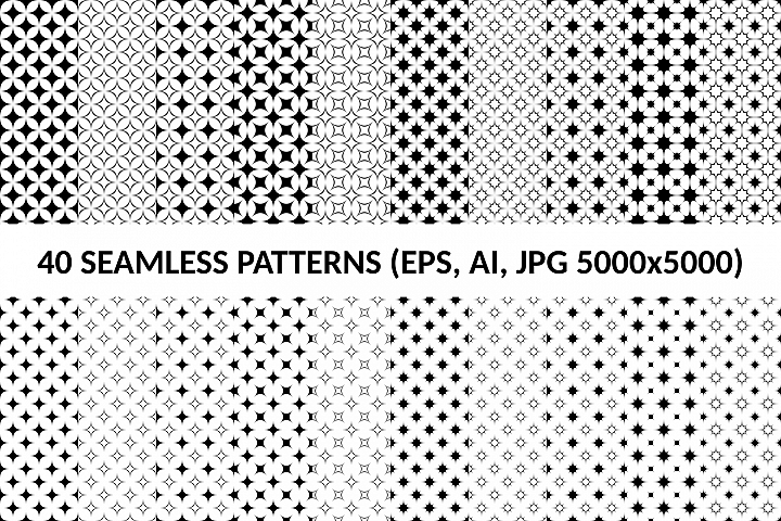 40 Seamless Curved Star Patterns (AI, EPS, JPG 5000x5000)