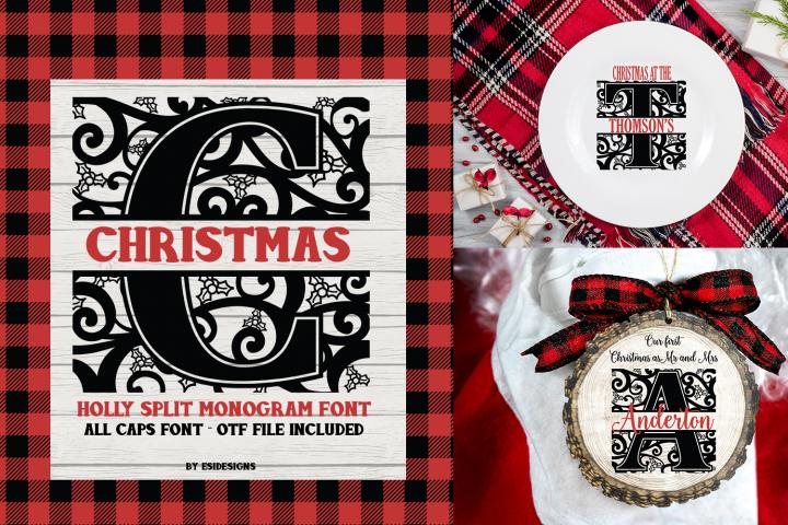 Christmas Holly Split Monogram Font | Serif Font