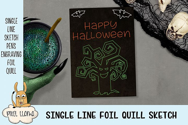 Happy Halloween Single Line Sketch Foil Quill