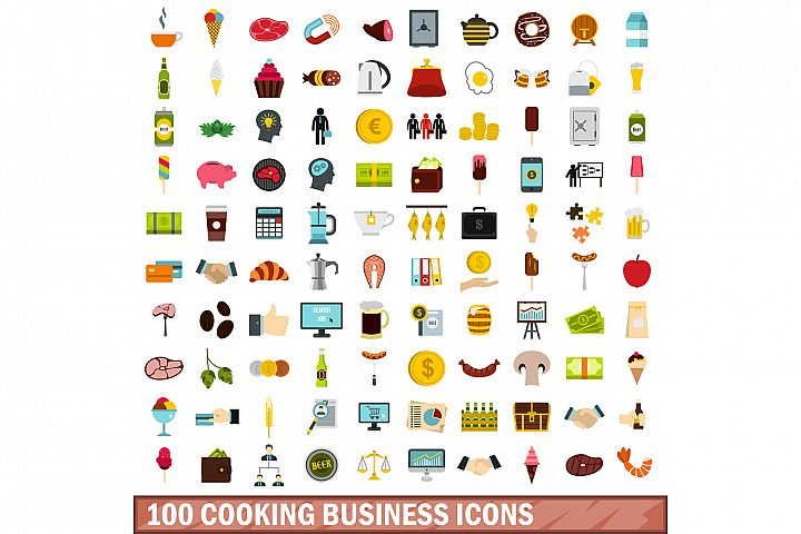 100 cooking business icons set, flat style