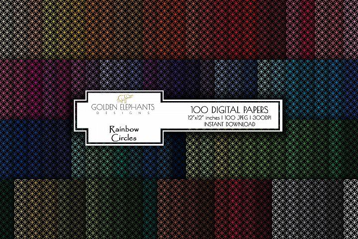 100 Circles 4 Digital Paper, Seamless Scale Patterns