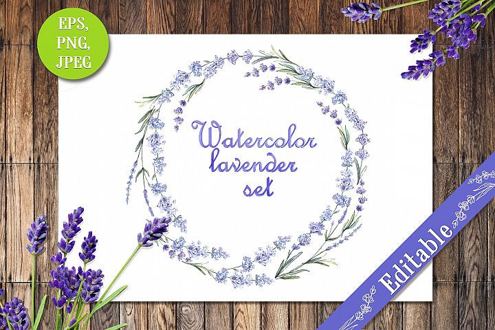Watercolor lavender set