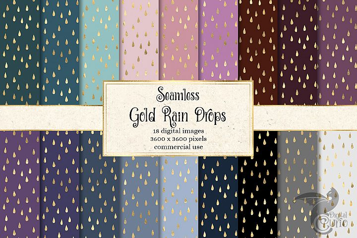Gold Rain Drops Digital Paper