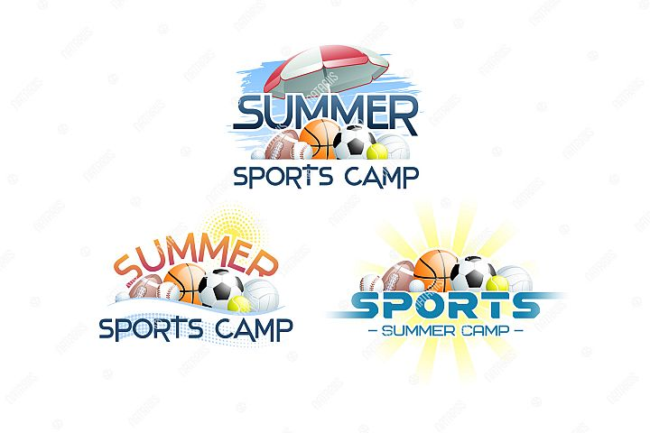 Sports Summer Camp concept with different Sports Balls.