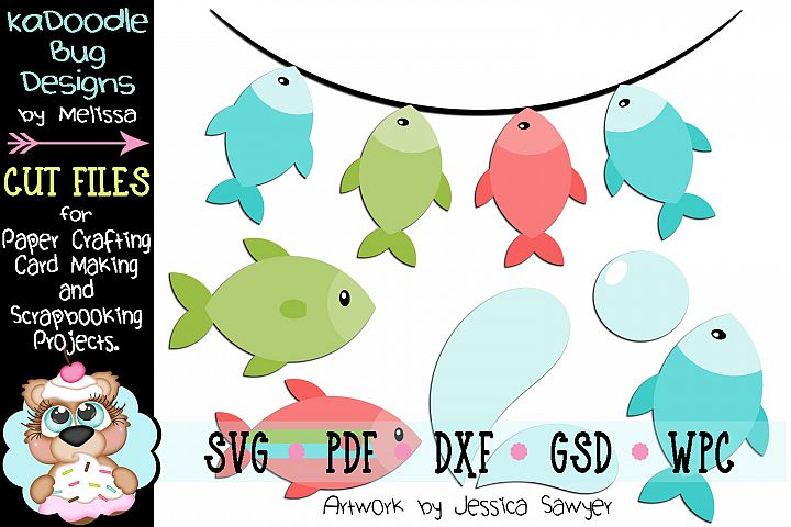Lets Go Fishing Cut File - SVG PDF DXF GSD WPC - 7 Pieces