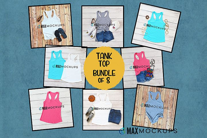 Tank Top Mockup bundle, summer flatlay, styled photography