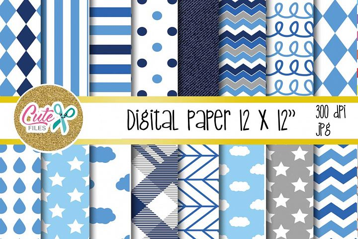 Blue cloud paper, polka and chevron digital paper