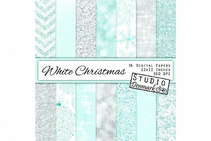 White Christmas Digital Paper Pack