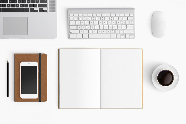 Modern workplace. Top view. Flat lay style. 29