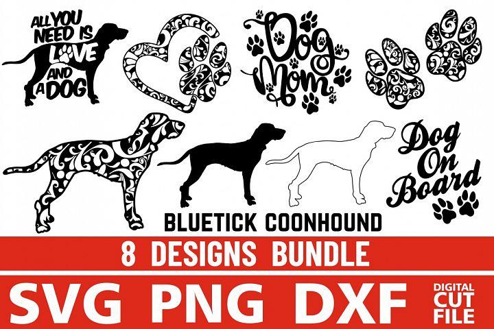 8x Bluetick Coonhound Bundle svg ,Dog Shapes svg,Silhouettes