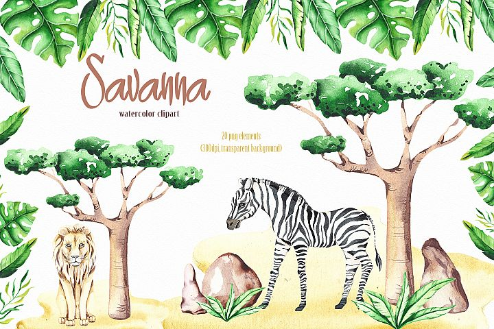 Savanna animal & Tropical clipart example 1