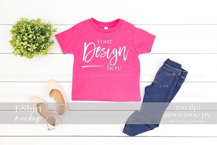 T-Shirt Mock up HOT PINK| Rabbit Skins Mockup 3301T Toddler