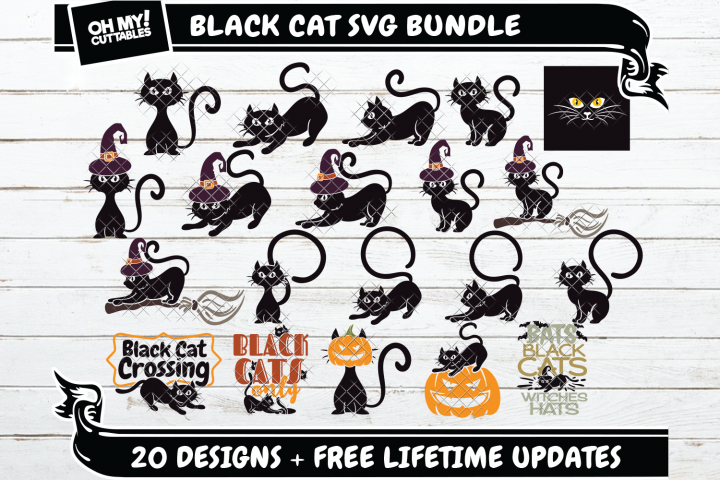 Black Cat SVG Halloween in SVG, DXF, PNG, EPS, JPG
