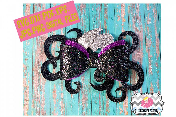 Mermaid Ursula Inspired, Sea Witch, Wicked Hair bow Template