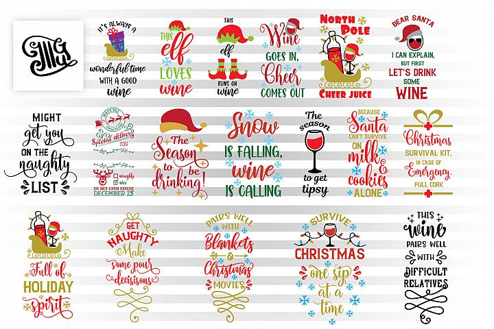 Christmas wine bag svg bundle