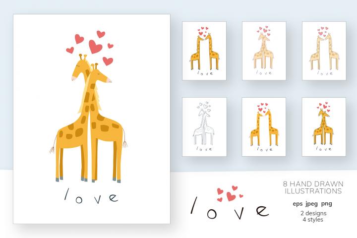 Set of Valentines vector illustrations