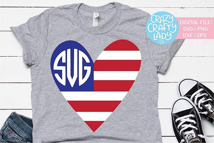 American Flag Heart Monogram Frame SVG DXF EPS PNG Cut File