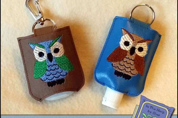 ITH Howard the Owl Hand Sanitizer Holder- Snap Tab (5x7 Hoop) - Machine Embroidery