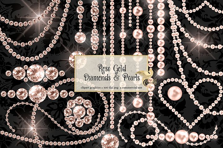 Rose Gold Diamonds and Pearls Clipart