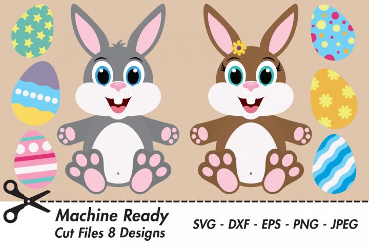 Cute Bunny Rabbit Bundle SVG Cut Files, Easter Bunny, Eggs