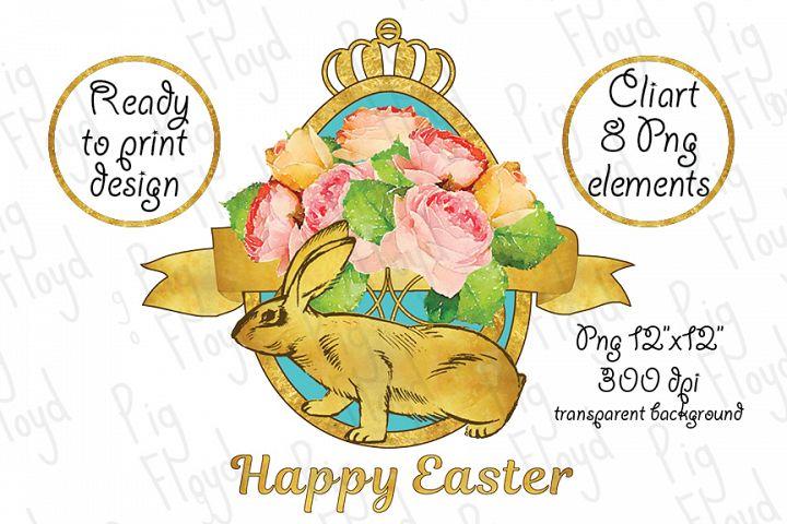 Happy Easter, Golden Rabbit, Easter clipart, Vintage Flowers