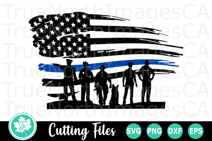 Thin Blue LIne Flag Police - An Occupation SVG Cut File
