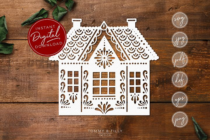 Intricate House No.2 - SVG EPS DXF PNG PDF JPG Cut File