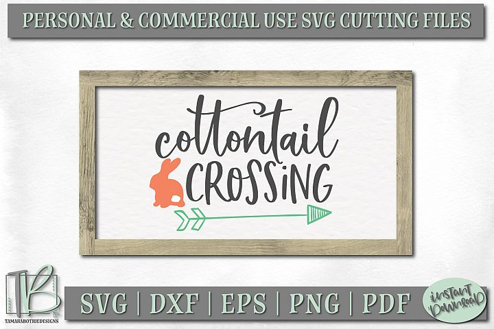 Easter Sign SVG File, Cottontail Crossing SVG Cut File