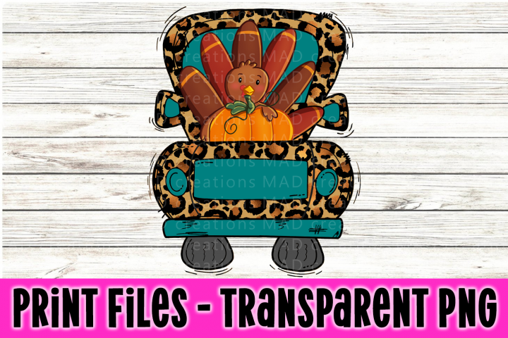 Leopard Print and Teal - Thanksgiving Retro Vintage Truck