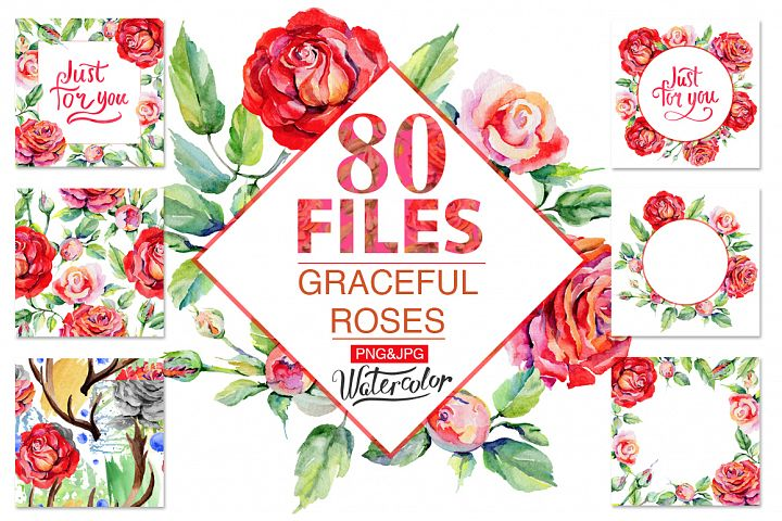 Roses PNG watercolor flower set - Free Design of The Week Font