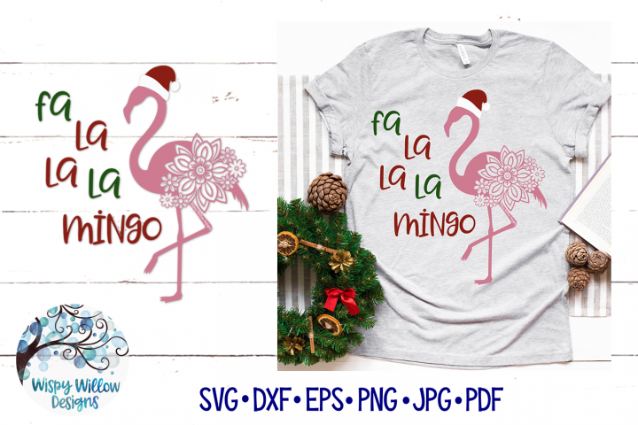 Fa La La La Mingo SVG Cut File | Christmas Flamingo SVG