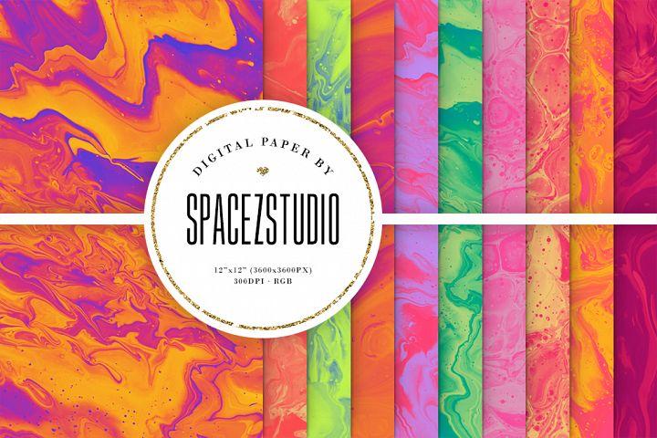 Bright Ink Textures - Liquid Paint Digital Paper