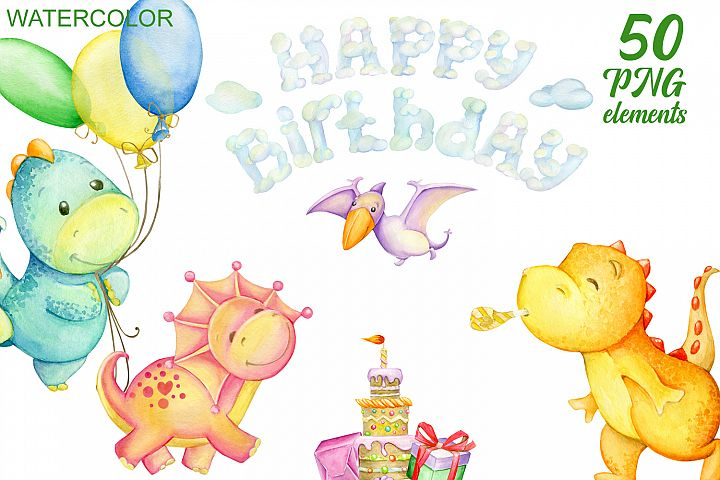 Dinosaurs, Watercolor cliparts. The day of the birth.