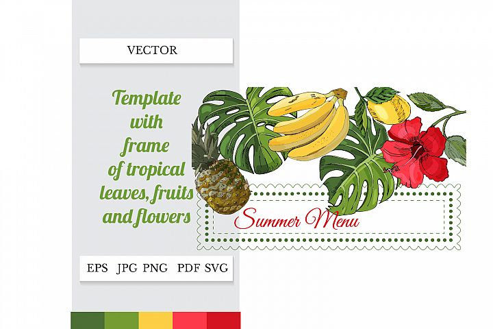 Menu template. Summer SVG. Tropical party decor.