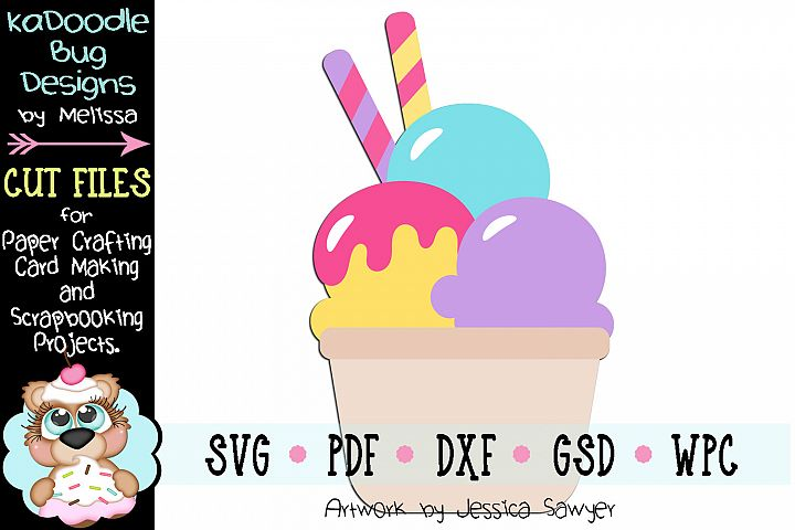 Ice Cream Bowl Cut File - SVG PDF DXF GSD WPC