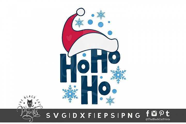 Ho Ho Ho Santa Hat SVG DXF EPS PNG Kids Christmas svg