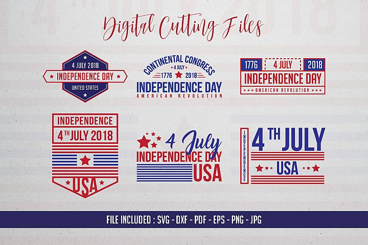 6 File USA Independence Day - SVG DXF PDF EPS PNG JPG