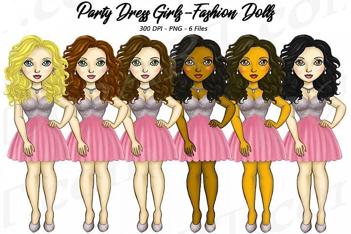 Party Dress Girls Cute Pink Dress Clipart, Fashion Dolls