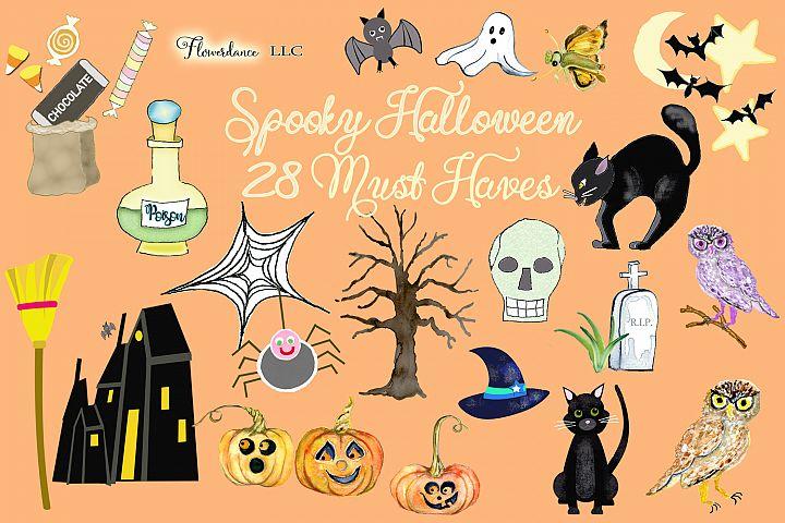 Watercolor Halloween Clipart, Spooky Halloween Party