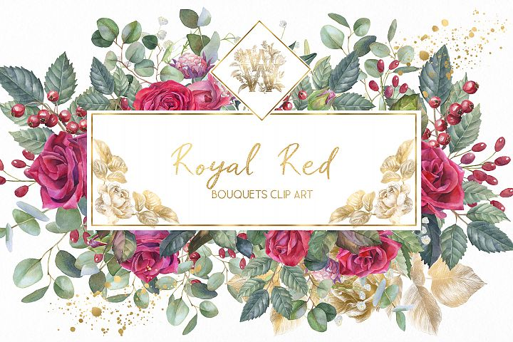 Marsala red rose floral border clip art, wedding Watercolor