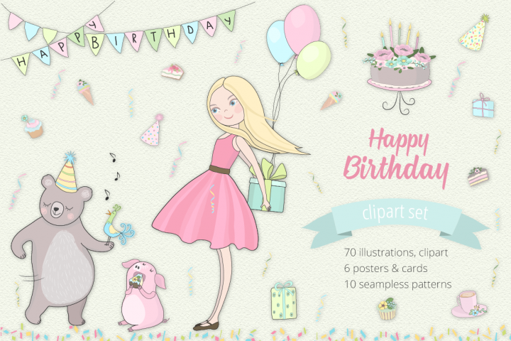 Happy Birthday Illustration Set
